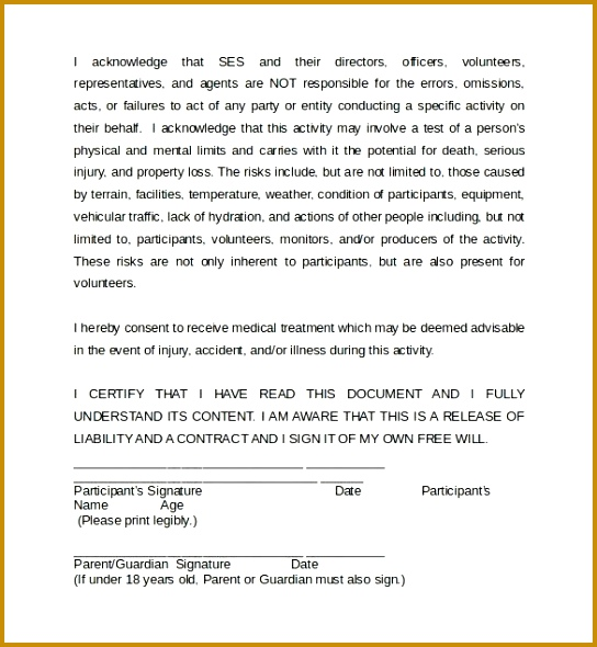 3 Accident Waiver and Release Of Liability form Template