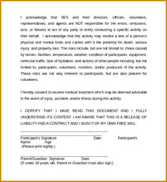 Sample Accident Waiver And Release Of Liability Form 590544  Free Liability Release Form