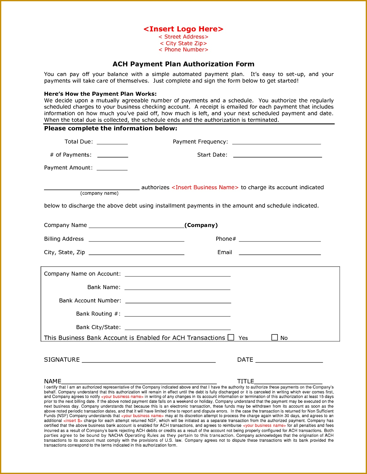 7 ach debit authorization form template