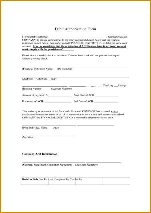 7 ach debit authorization form template