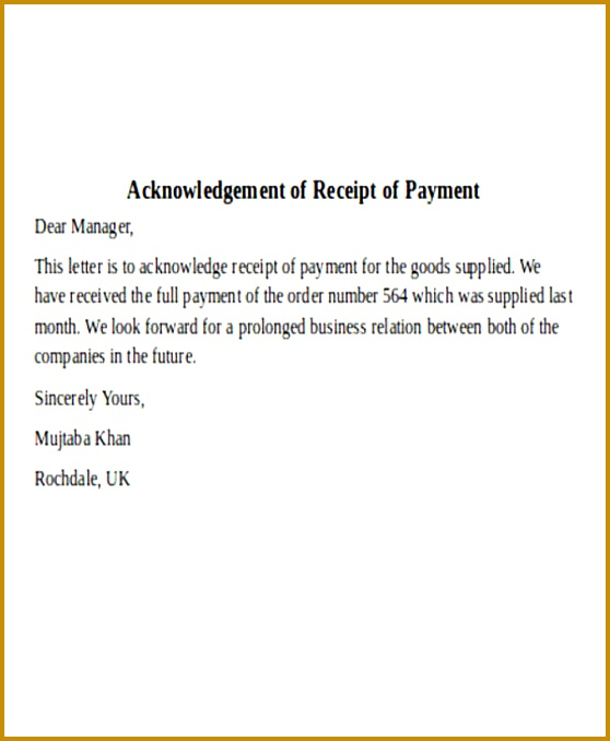 Acknowledgement Letter Payment Received 678558