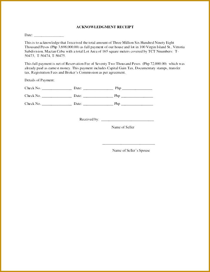 Payment Receipt Acknowledgment Sample Payment Receipt Format 924714