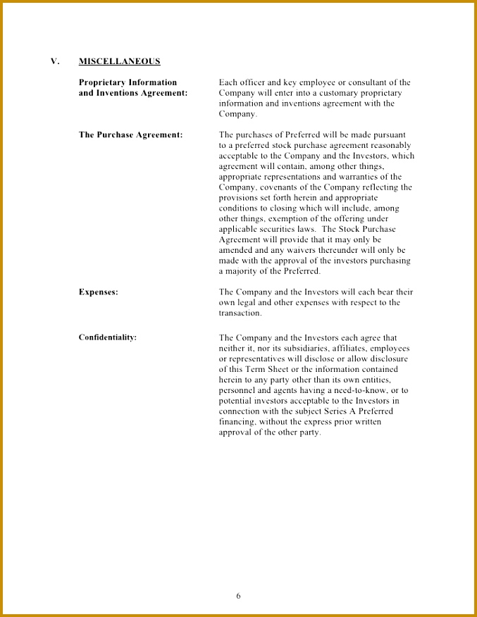 Acquisition Term Sheet Template  Fabtemplatez