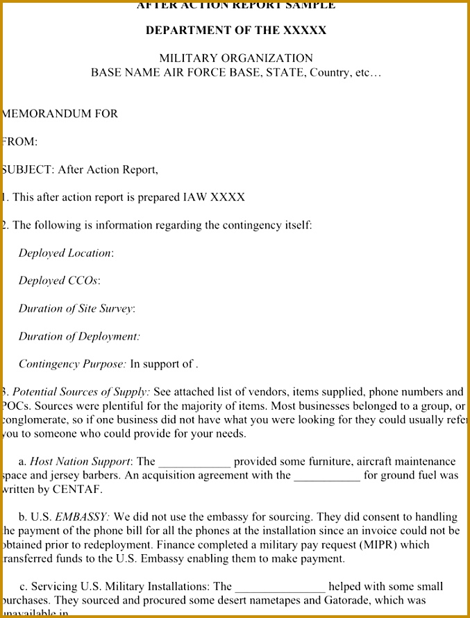 After Action Report Template 890677