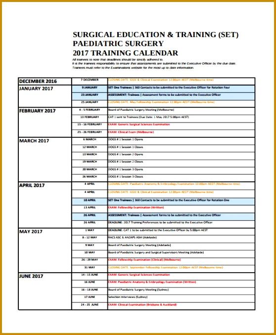 5 Annual Training Calendar Template Format Fabtemplatez