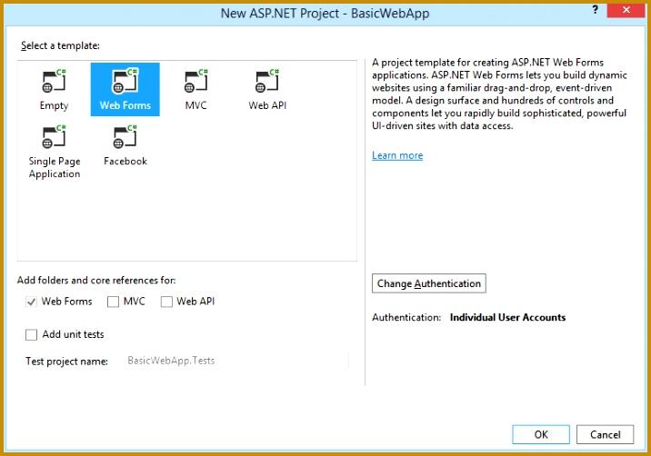New ASP NET Project dialog box 502716