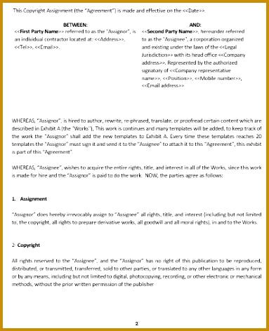 Ne0127 Copyright Assignment Contract Template English – Namozaj 472383