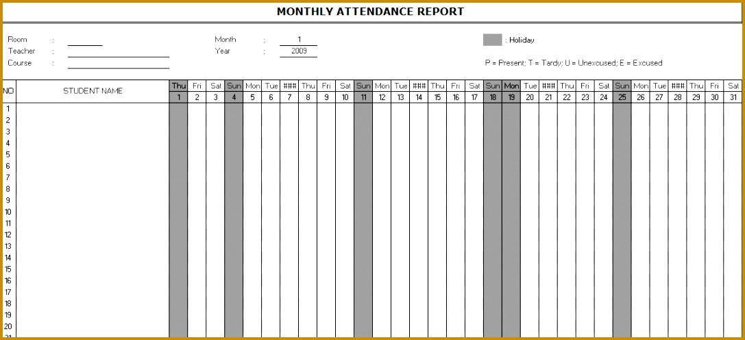 7 attendance List format