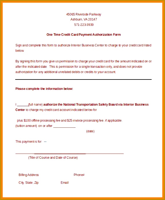 credit card authorization form template 12 [ caption] 697576