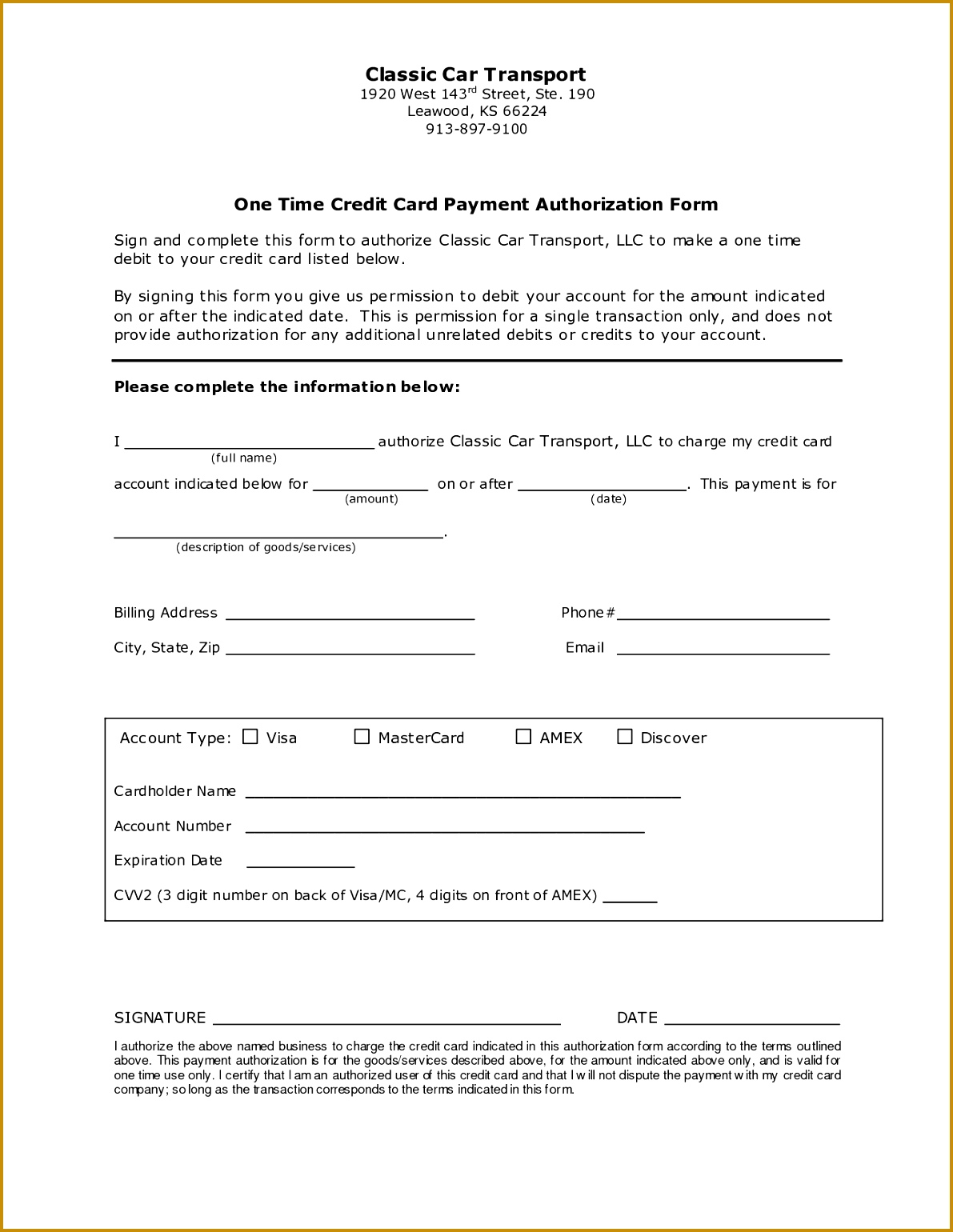 Payment Authorization Form 15401191