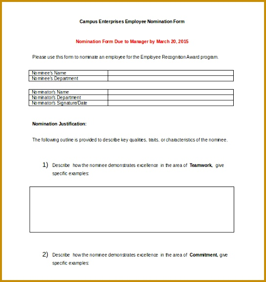 Award Nomination Form Template 12 Free Word Pdf Documents 544576