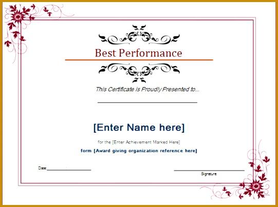 best performance award certiicate 404541