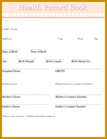 Baby Children s Health Record Book Home Management Binder 219285