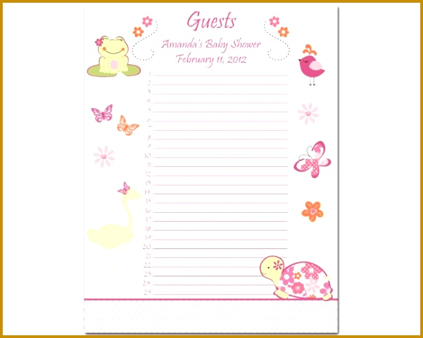Free Printable Guest List Baby Birdal Shower Guest Template Bridal Shower Guest List Template Wedding Templates 494618