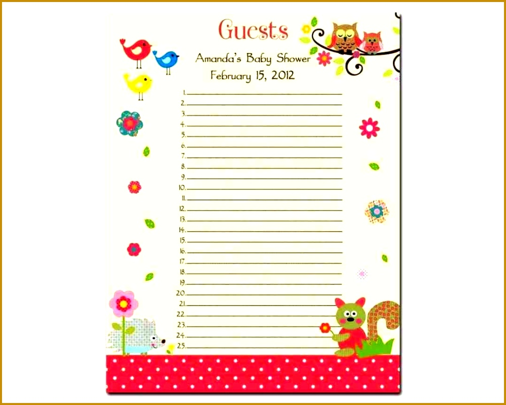 Baby Shower Guest List Template Baby Shower Guest List Template Sample Invitations List 8021002