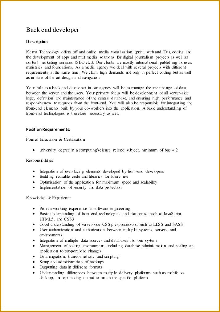 7 Back End Developer Job Description