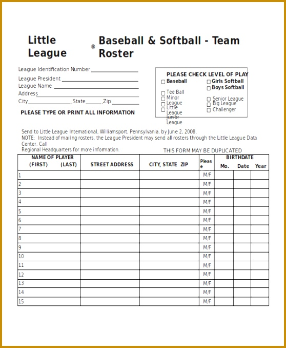 Adding Staff To Your Roster Template Baseball Lineup Card