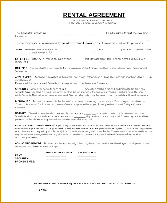 Sample Rental Agreement Contract 6 Documents In Word Pdf 678558
