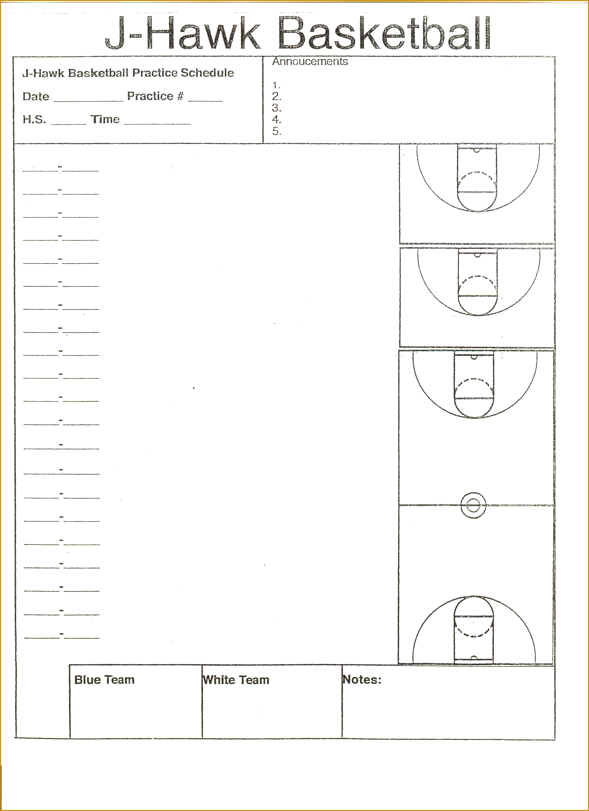 7 basketball practice plan template word fabtemplatez for Basketball practice planner template