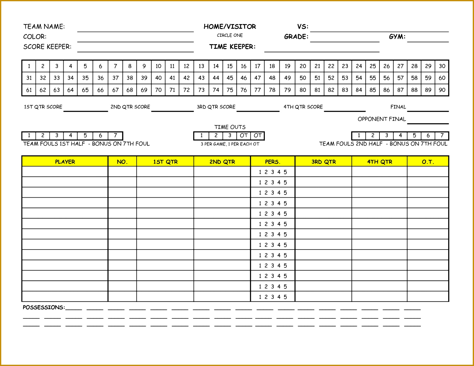 Template Golf Scorecard Excel 15341185