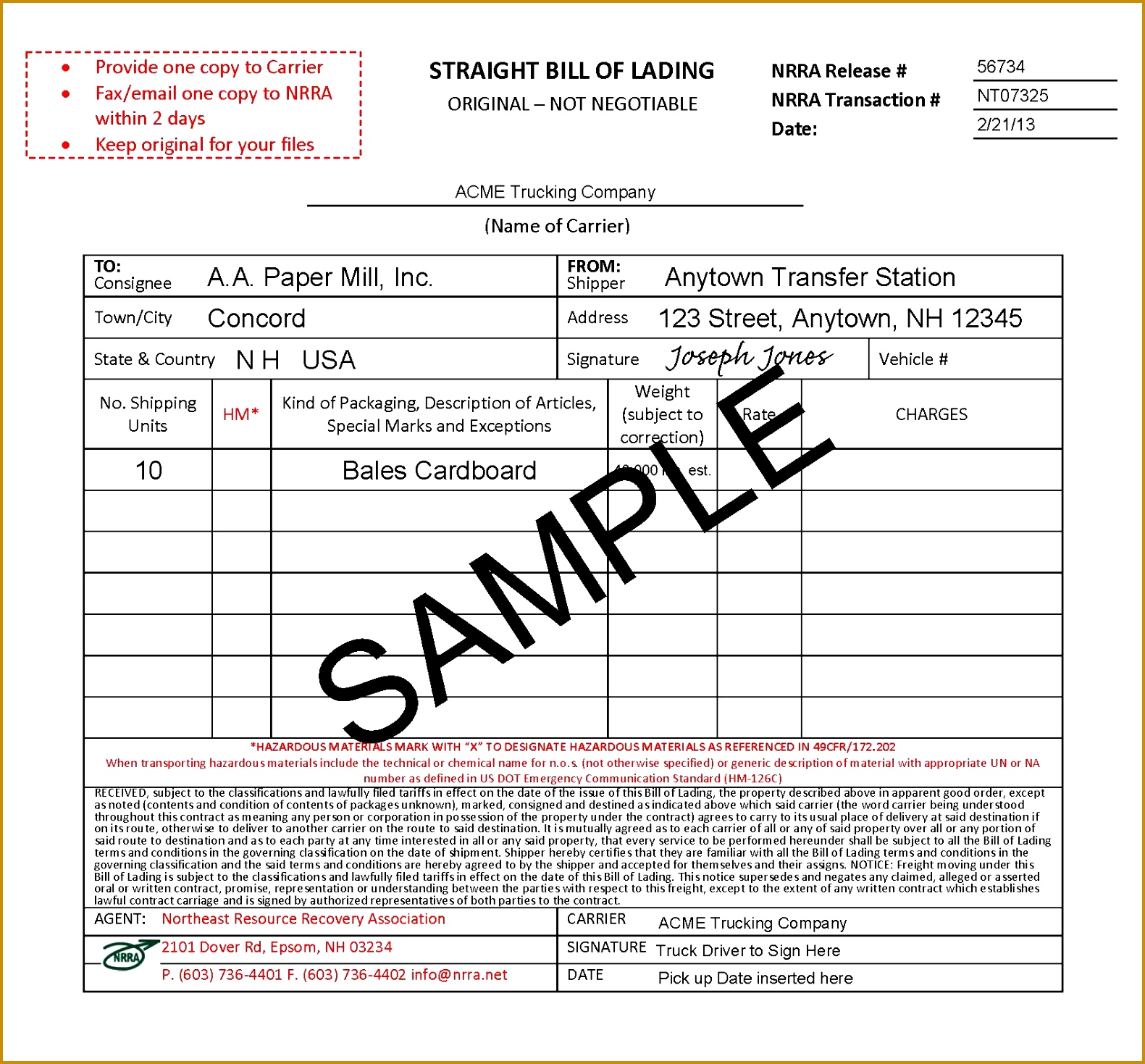 9 Best Sample Bill Lading Form Straight Sample a part of under Invoice Templates 14691581