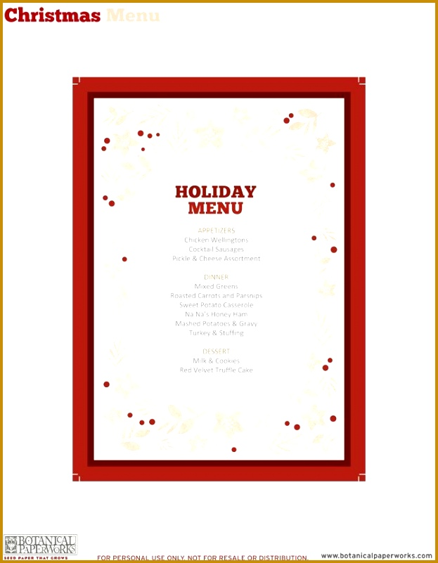 Free Printable Dinner Menu Template – Printable Template 2017 for Free Blank Christmas Menu Templates 2017 801623