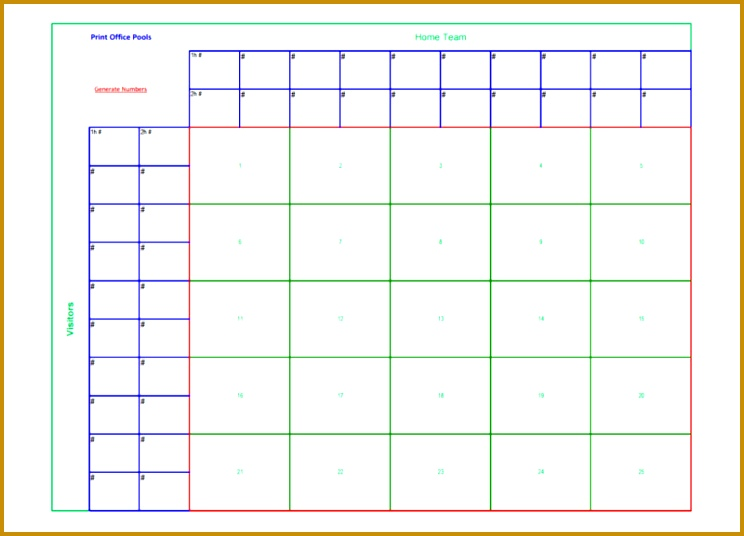 Printable 25 Square Football Pool Sheet Template PDF Download 744536