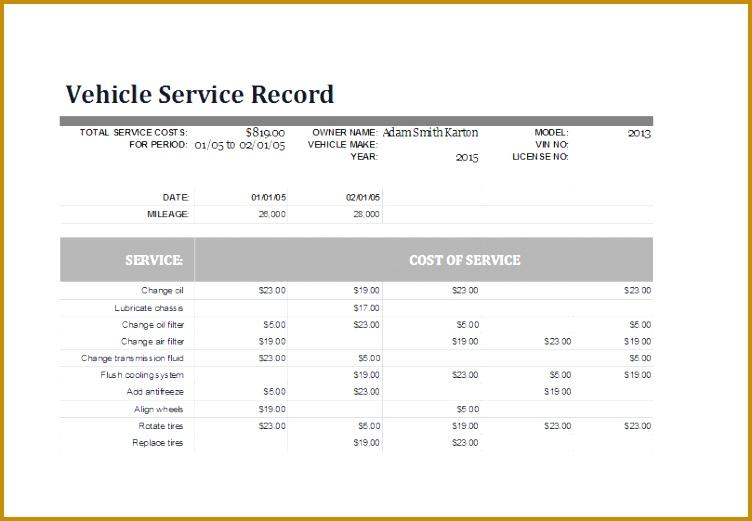 service log templaet 999 521752