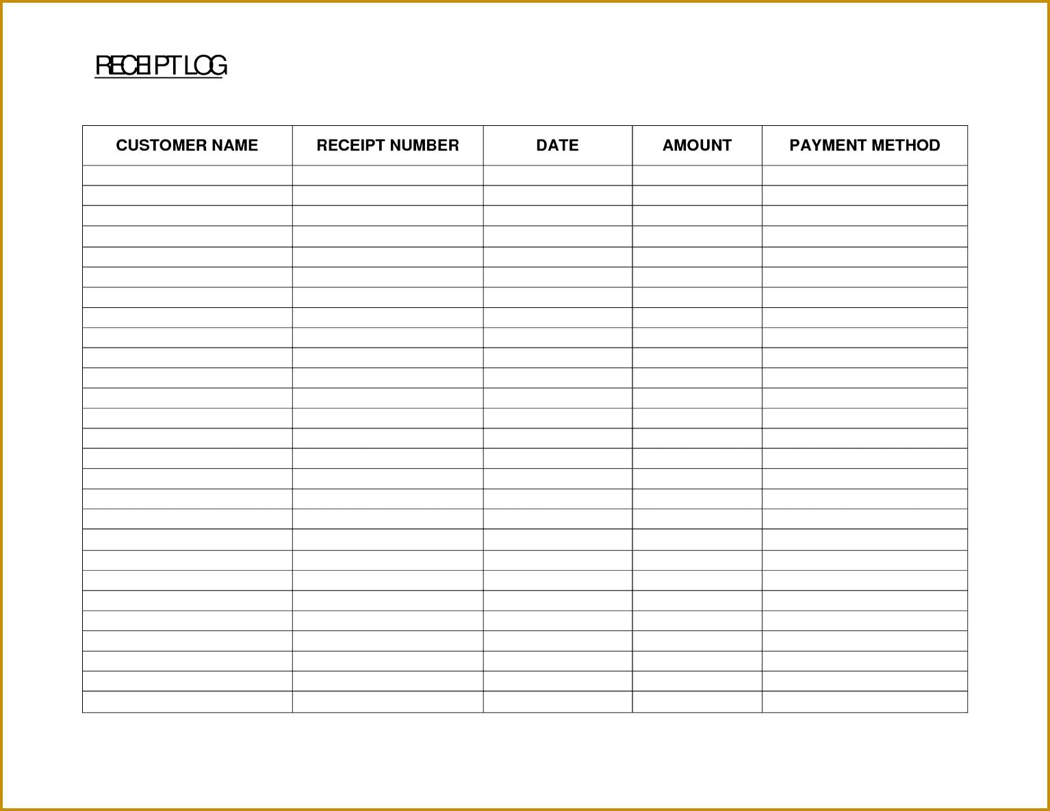 Free Printable Payment Log Sheets 11851534