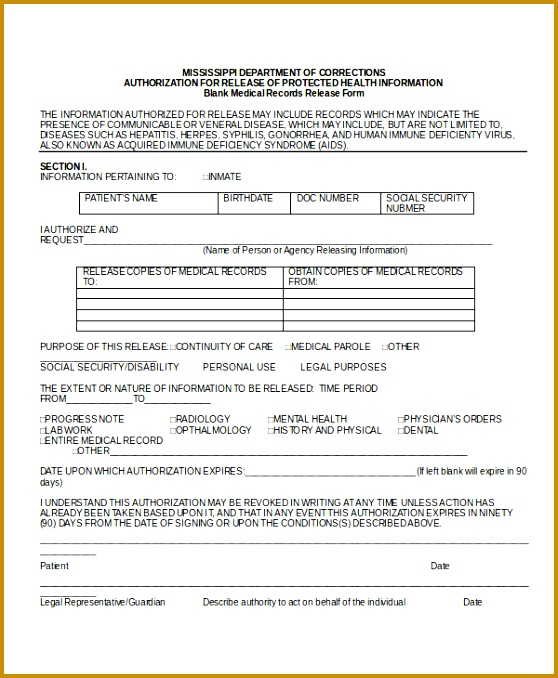 Blank Medical Records Release Form 558678