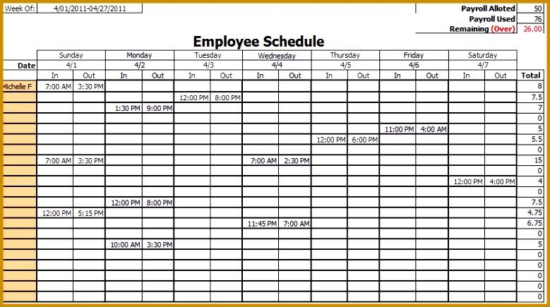 Monthly Schedule Template Employee Work Schedule Template 435779