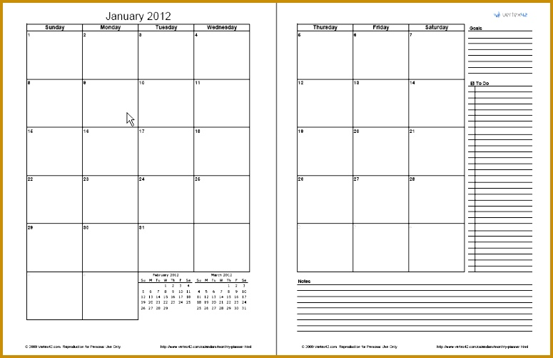 2 Page Monthly Planner 501775