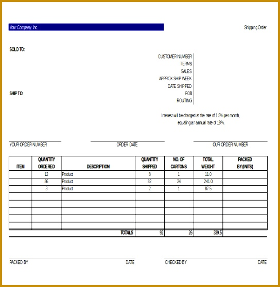 5 Blank Rate Confirmation Sheet