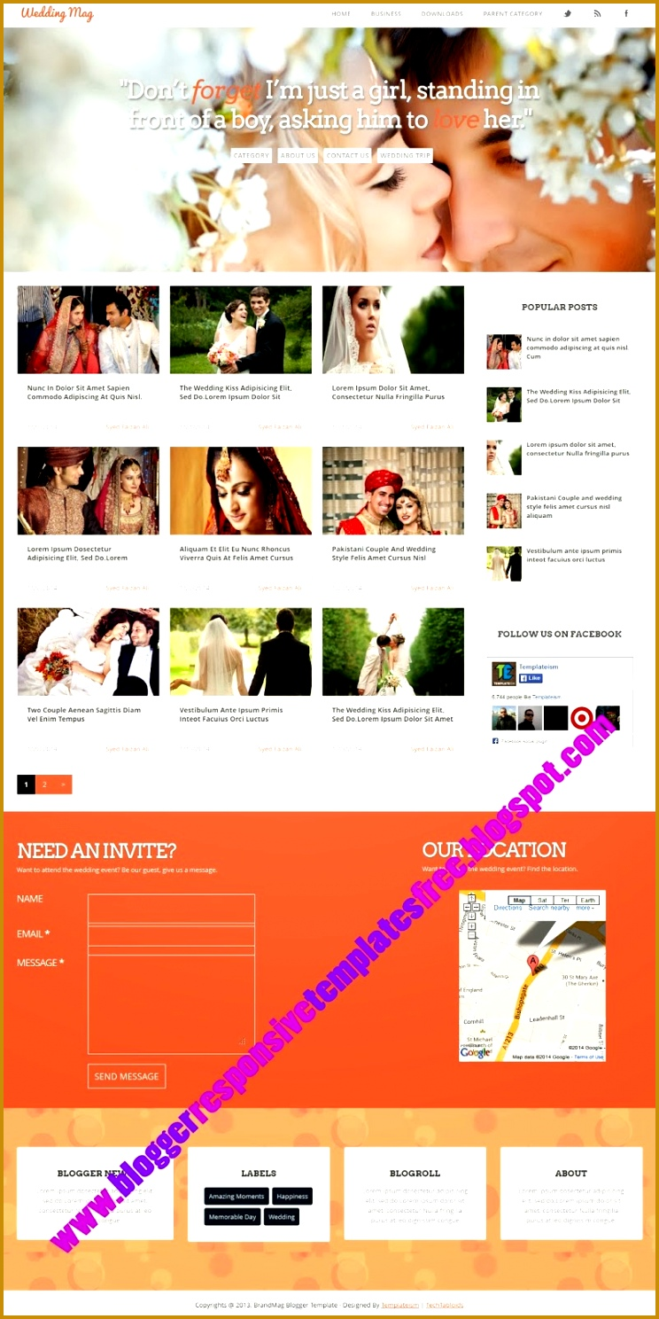 Wedding Mag Responsive Blogger Template Free Download for wedding responsive blogger template five column with good lookable photo show one sideber contact 7441488