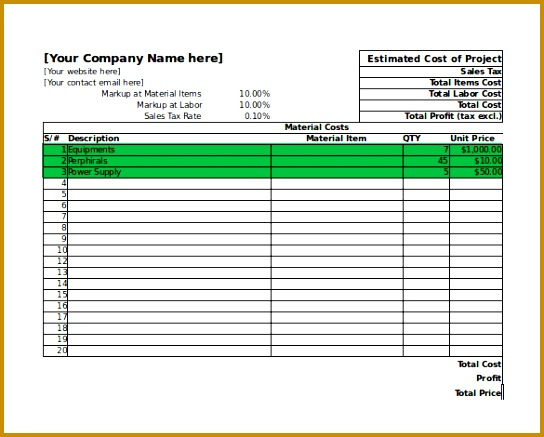 Project Cost and Profit Blank Estimate Template Download 437544