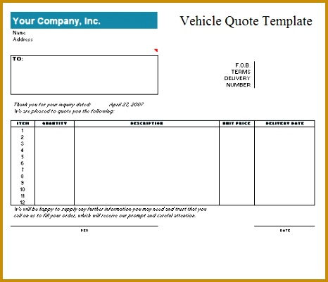 Vehicle Quotation Template 466401