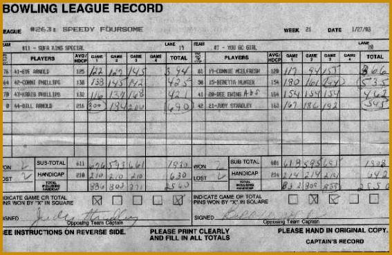 Pin Bowling Score Sheet Blank Calendar Free Pinterest 567368
