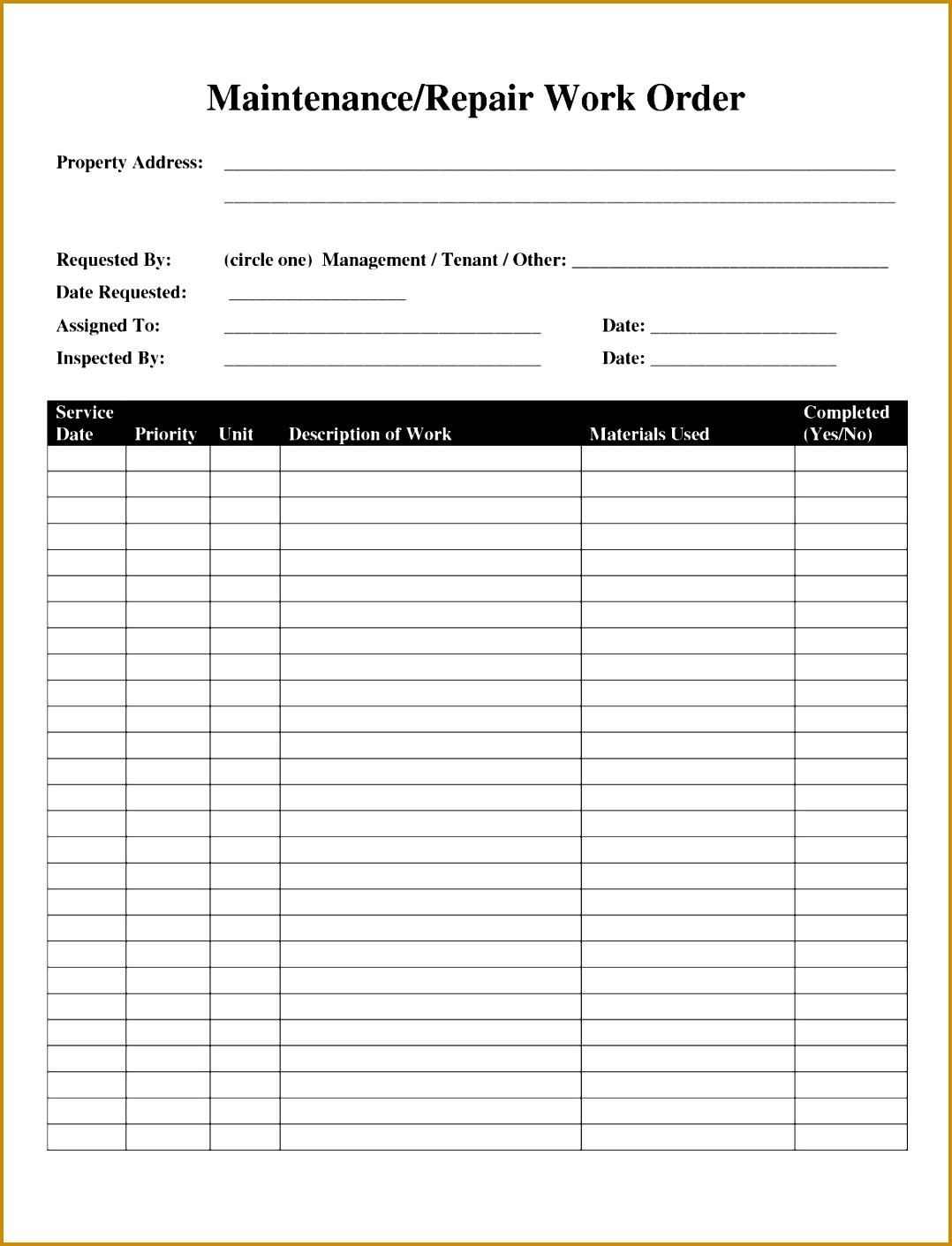 Building Maintenance Work order forms 33551 Maintenance form Template Eliolera