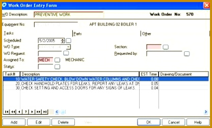 CMMS Work Order Entry Form 416252