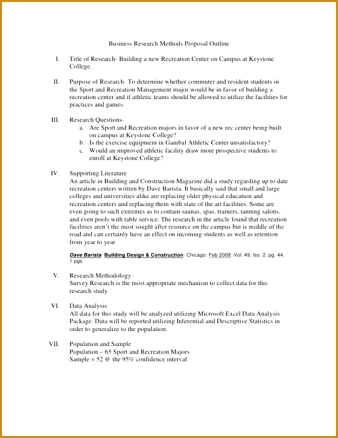 Business Research Methods Proposal Outline br ul li Title of Research Building a new Recreation Center on Campus at K 876677