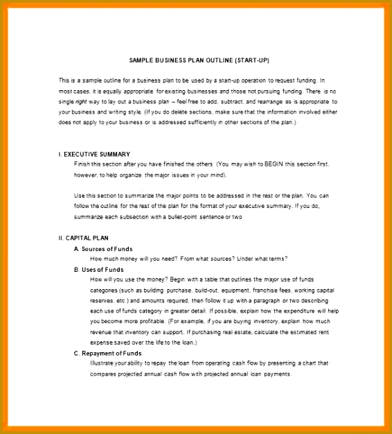 business plan outline Small Business Plan Outline Template Sample 566626