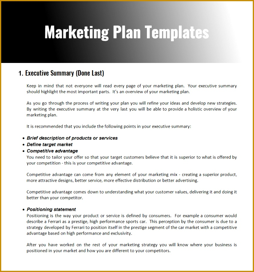 Word Document for Marketing Plan Template 903842