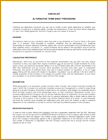 Checklist Alternate Term Sheet Provisions 1 Fill in the Blanks 2 Customize Template 3 Save As Print Sign Done 427553