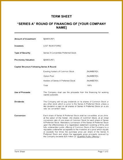 Business Term Sheet Template Term Sheet Template Sample Form Biztree 553427