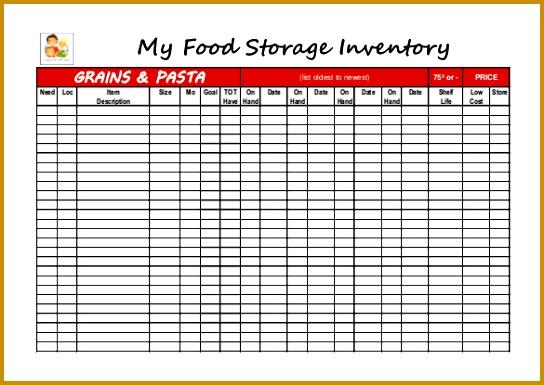 Food Storage Inventory Blank worksheet PDF 544385