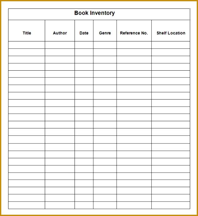 Sample Book Inventory Sheet Template 632688