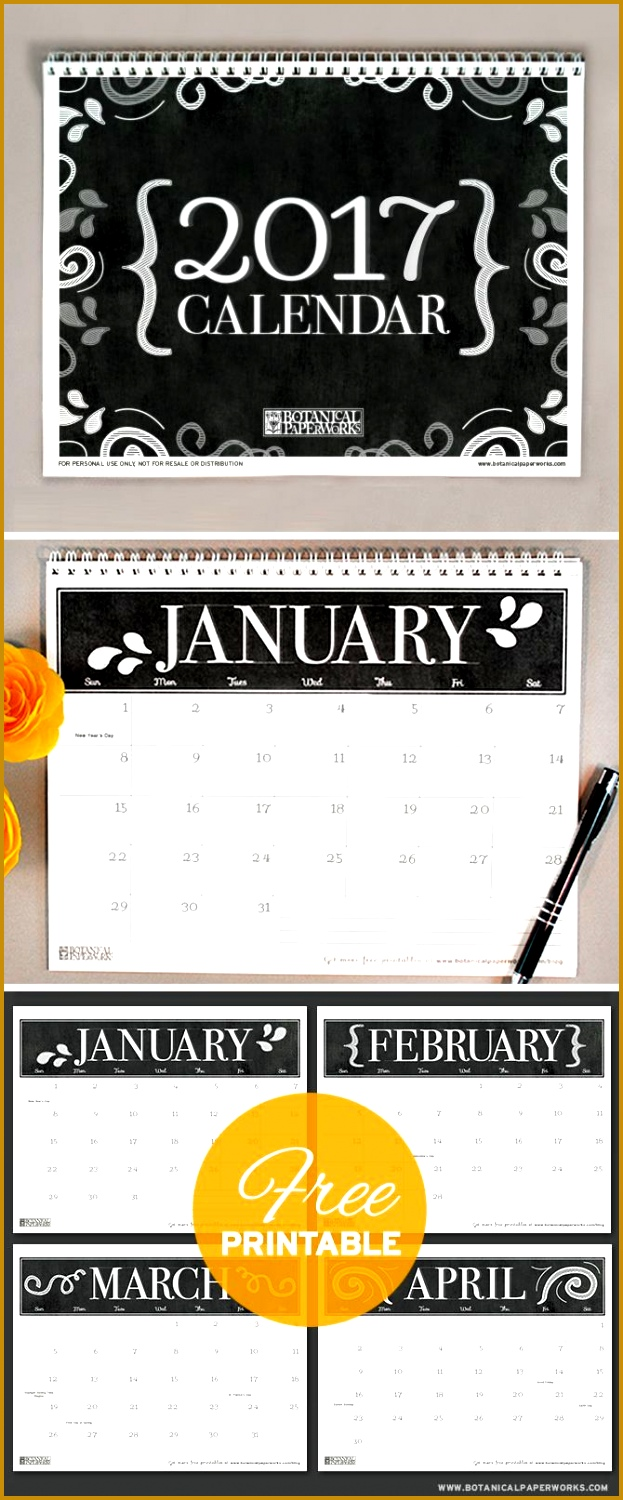 With a sophisticated black and white chalkboard design this freeprintable 2017calendar is 1500623