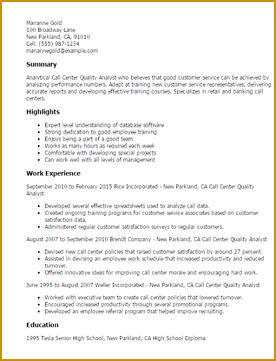 Resume Templates Call Center Quality Analyst 726556