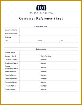 Customer Reference Sheet 358277  Customer Reference Template