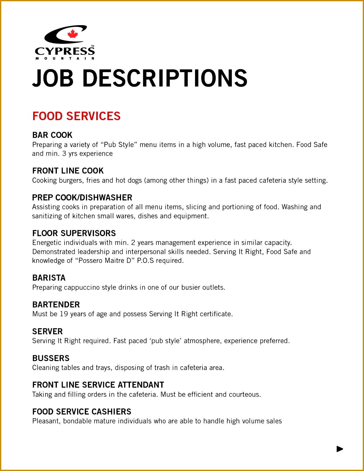 6 cashier server job description